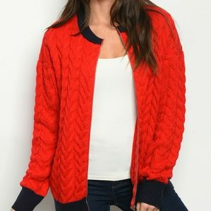 PROMESA RED NAVY COMFY COZY SWEATER BOMBER JACKET